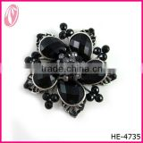 Silver Plated Black Enamel & Crystal 5 Leaf Clover Brooch