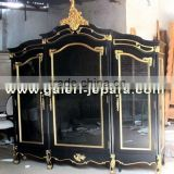 Wooden Armored Door Solid Wood - Armoire for Bedroom Set - Black Furniture with Gold Leaf Finished