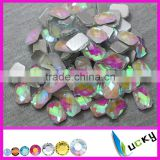 Best quality Korean hot sell Hot fix faceted epoxy rhinestone rectangle shape crystal ab color hotfix epoxy pearl