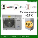 Cold -25C winter running 12KW / 19KW 35KW floor heating room indoor unit / outdoor unit EVI split air to water heat pump heater