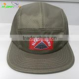 Water proof army green nylon custom woven label patch 5 panel camper cap with leather strap