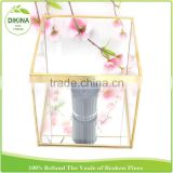 metal cube frame shadow counter display for cosmetics , Geometric Money Card holder - Wedding Gift candle stand glass box