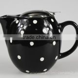 350ml Handpanted Black Color Glazed Artwork Decorative Ceramic Teapot With Stainless Steel Infuser Wholesale