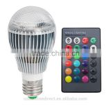 Durable 9W E27 led light color RGB magic led light bulb With Wireless Remote