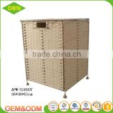 Woven folding rectangular laundry hamper