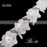 3D Fashion women dress lace fabric flower trim by yard