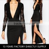 Black sexy lace side split dress picture of latest party wear frocks suits and gowns designs for adults