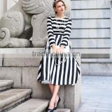 Woman new fashion autumn long sleeve white and black stripped elegant high waist elegant midi dress