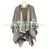 2015 brand colour block stitched blanket cape coat winter scarf plaid women poncho wraps check top cashmere acrylic shawls