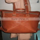 Luxury travel duffle bag with full grain semi vegetable tanned real cow genuine leather bag