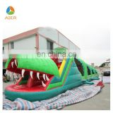Happy Gator inflatable tunnel obstacle course with slide