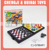 Plastic Chiness board intelligent toy 5 in 1 game set