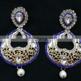 Blue Heart-In- Drop Beautiful Collection Gold Plated Cubic Zerconia Party Wear Earrings Set in Color
