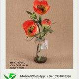 32cm Artificial Poppy with Glass Pot