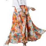 High Waist Pleaded Printed Beach Chiffon Ladies' Skirt
