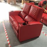 Top grain red leather cinema sofa with cool cupholder,electric home theater sofa