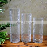 hot selling high quality clear cracked glass vases manufacturer fashion home decor furnishings