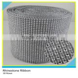 30 Rows Silver Plastic Base Rhinestone Mesh Wrap Net 10 Yards Loose Flatback