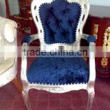 European silver frame blue velvet dining arm chair XYD142