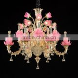 2015 golden pink flowers glass chandeliers pendant for decoration