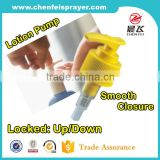 Soap lotion pump in yellow color for dispenser pump bottle in 28/410 24/410 for body wash and gel