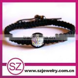 Wholesale Custom Eco-friendly Black String With Bead Wristband Kid Bracelet
