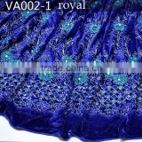 VA002-1 royal blue african beaded velvet george lace fabric embroidery design with stone