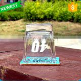 2015 the newest model shot glass white walled cups fashionable decal on glass cups with four angles