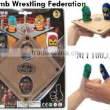 Thumb wrestling game toy interesting finger sport game funny wrestle ring with 1pc wood table and 2pcs thumb masks