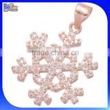 Fashion Trendy Alibaba Express Cheap Rose Gold Plated Micro Pave Zircon CZ Snowflake Copper Pendant Brass Pendant