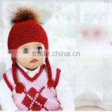 Popular Winter Warm Knitted Wool Baby Beanie Hat with Raccoon Fur Pom poms Ball/Earflaps