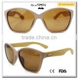 Mr.wood Wooden Sunglasses 2015 New Products Handmade Produced Bamboo Sunglass Plastic Frame Bamboo Leg