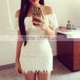 2016 Good Review Lace Mini Dresses Fascinating Off Shoulder White Mini Dresses For Ladies HML-LH0005