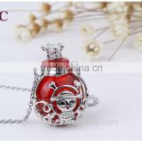 2016 Handmade Glass Bottle Skull Aromatherapy Essential Oil Diffuser Pendant Necklace Jewelry