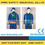 Construction full body harness with lanyard