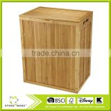 Folding Bamboo Laundry Hamper with Hinged Lid and Cotton Liner