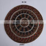 Round brown and amber Glass bead place mats with patterns available in more colours and patterns