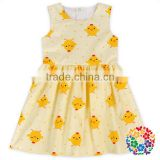 Wholesale Baby Girls New Chicken Printing Sleeve Dress Fashion Summer Cotton Dress Shirt