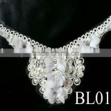 BL0122 High quality vintage white embroidery chiffon flower beadiing rhinestone collar neck designs for ladies suit