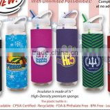 USA Made Full Color Print 32 oz Slim Sipper Bottle With Sublimated Sleeve - BPA-free, biodegradable and comes with your logo
