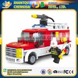 Best selling 210PCS skillful manufacture plastic building fire fighting truck blocks toy for kids