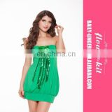 New Style 2016 Good Quality Sexy Strapless Green Sexy Girls Clubwear Women's Fashion Dress