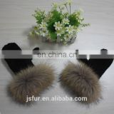 Russian Style Woman Warm Fashion Beautiful Black Genuine Raccoon Fur Knitted Hand Gloves