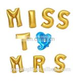 "Bridal Shower, Bachelorette Party, Wedding Decorations miss to mrs Gold Foil Letter 16"" Balloons"