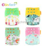 Elinfant Best reusable printed cartoon baby cloth diaper waterproof adjustable baby nappy wholesale