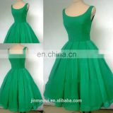 Real sample a 1950's style emerald green boat neck short cocktail dress prom dress short w17