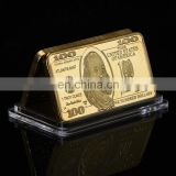 WR US 100 Dollar Gold Banknote Fake Bar 999.9 Gold Plated Currency Bill Note 24k Gold Bar Fake Money Worth Collection