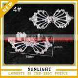 Cheap crystal rhinestone ribbon slider pair buckles embellishment for wedding invitation cards made in china