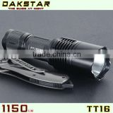 DAKSTAR TT16 LED XML T6 1150LM 18650 Aluminum Army Emergency Tactical Rechargeable CREE Super Bright Flashlight