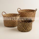 High quality best selling eco-friendly Round woven storage basket with handles, brown color from Vietnam